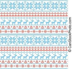 seamless, weihnachten, muster, nordisch, stil