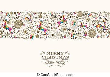 seamless, weinlese, rentier, weihnachten, muster