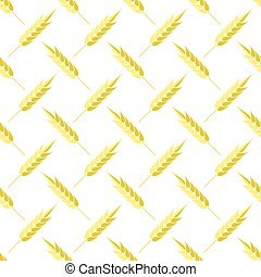 Seamless Wheat Pattern. Set of Ears