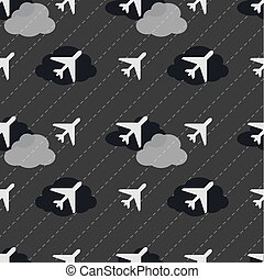 seamless white airplane in night sky pattern background.