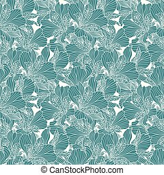 Seamless white alstroemeria pattern on blue background.