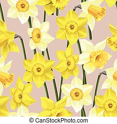 Seamless white and yellow daffodils