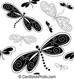Seamless white-black pattern - Seamless white pattern with...