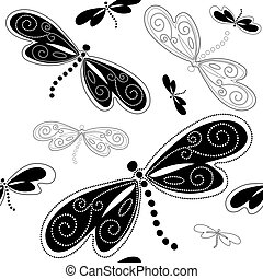 Seamless white pattern with black dragonflies and vintage curls (vector)