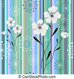 Seamless white-blue floral striped pattern