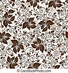 seamless, white-brown, blumen muster