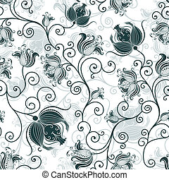 Seamless white-dark-green floral pattern