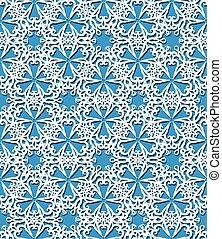 Seamless white decorative pattern on blue background