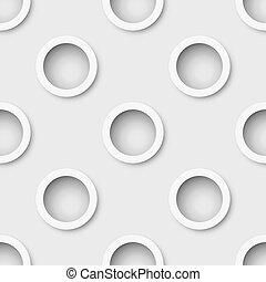 Seamless white extruded rings wall vector background.