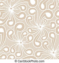 Seamless white floral lace on beige background