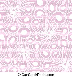 Seamless white floral lace on pink background