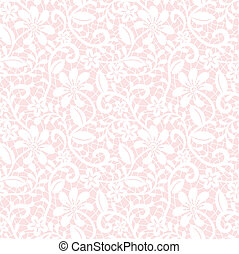 lace pattern - Seamless white floral lace pattern on pink...