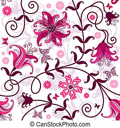 Seamless white floral pattern - Seamless floral pattern with...