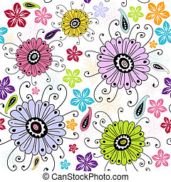 Seamless white floral pattern with red, violet, yellow and...