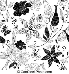 Seamless white floral pattern with vintage elements (vector)