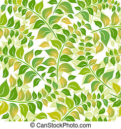 Seamless white-green floral pattern