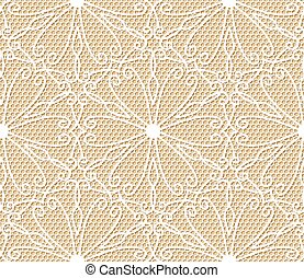 Seamless white lace pattern on beige background