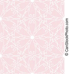 Seamless white lace pattern on pink background