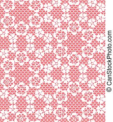 Seamless white lace pattern on red background