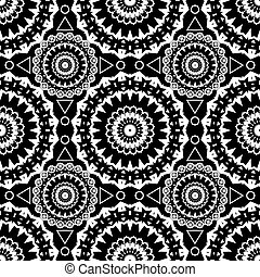 Seamless white lace pattern print on black