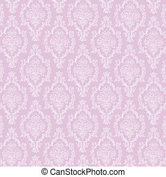 Seamless White & Lavender Damask - Delicate white lace...