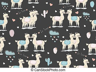 Seamless white llama pattern on dark background with clouds...