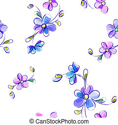 Seamless white pattern with flowers