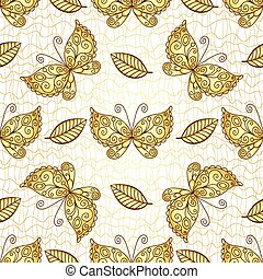 Seamless white pattern with gold butterflies