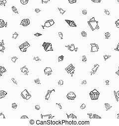Seamless white pattern with hand-drawn elements on a coffee theme and desserts.
