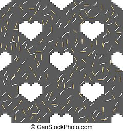 seamless white pixel heart with silver and gold glitter pattern background