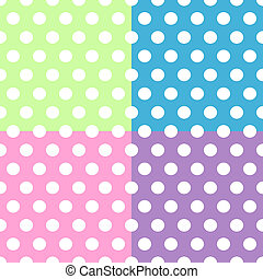 Seamless pattern of cute, fun and bold white polka dots patterns over pink, purple, green and blue squares background, can be used separately or together.