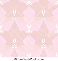 seamless white scissors pattern on pink background