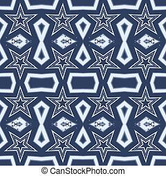 Seamless white star fractal design on blue background