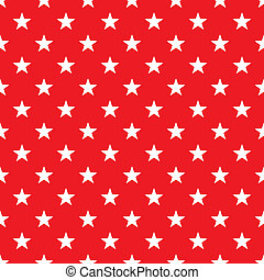 Seamless White Stars on Bright Red