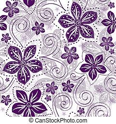 seamless, white-violet, blom- mönstra