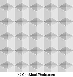 Seamless white wall white 3D vector pattern.