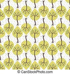 Seamless white with yellow trees