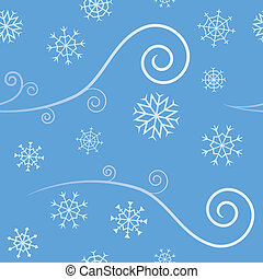 An elegant abstract seamless pattern depicting cold Winter Wind and blowing snow flakes