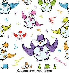 Seamless winged color snowmen
