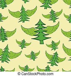 Seamless winged fir-trees