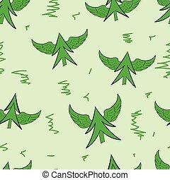 Seamless winged green fir-trees