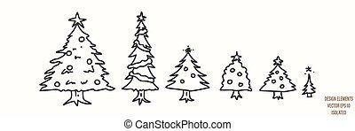 Seamless winter fir tree illustration clipart. Simple gender neutral nursery festive scrapbook sticker. Kids whimsical cute hand drawn cartoon christmas forest woodland motif.