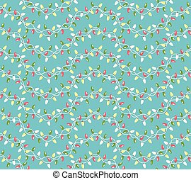 Seamless Winter Holidays Pattern with Christmas Lights Isolated on Blue