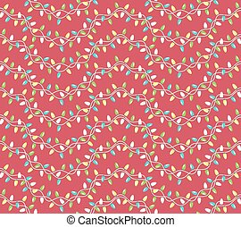 Seamless Winter Holidays Pattern with Christmas Lights Isolated on Red