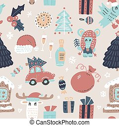 Seamless winter holidays pattern with funny cartoon deer, mouse, Xmas tree, Gingerbread house on snowy light biege background. Vector illustration. Design for fabric and decoration.