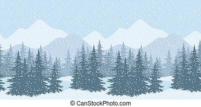 Seamless winter landscape with fir trees - Seamless...