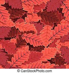Seamless Winter Oak Tree Leaves Wal