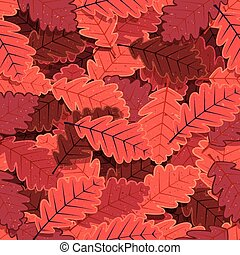 Seamless Winter Oak Tree Leaves Wal