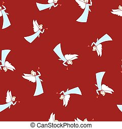 Seamless Winter Pattern ,Christmas Angel