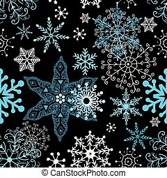 Seamless winter pattern of different snowflakes on dark...